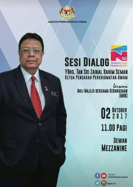 Pacsu Sesi Dialog Tn50 Ketua Pengarah Perkhidmatan Awam Malaysia Dengan Ahli Majlis Bersama Kebangsaan